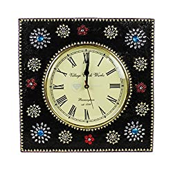 Modern Contemporary Handcrafted Beautiful Black Square Decorative Time's Wall Clock With Vintage Accented Roman Dial Face | Nagina International