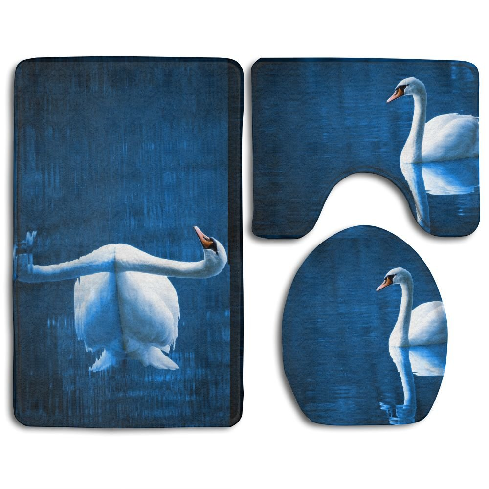 Amazon.com: The Swan Non-Slip 3 Piece Bathroom Mat Set Bathroom ...