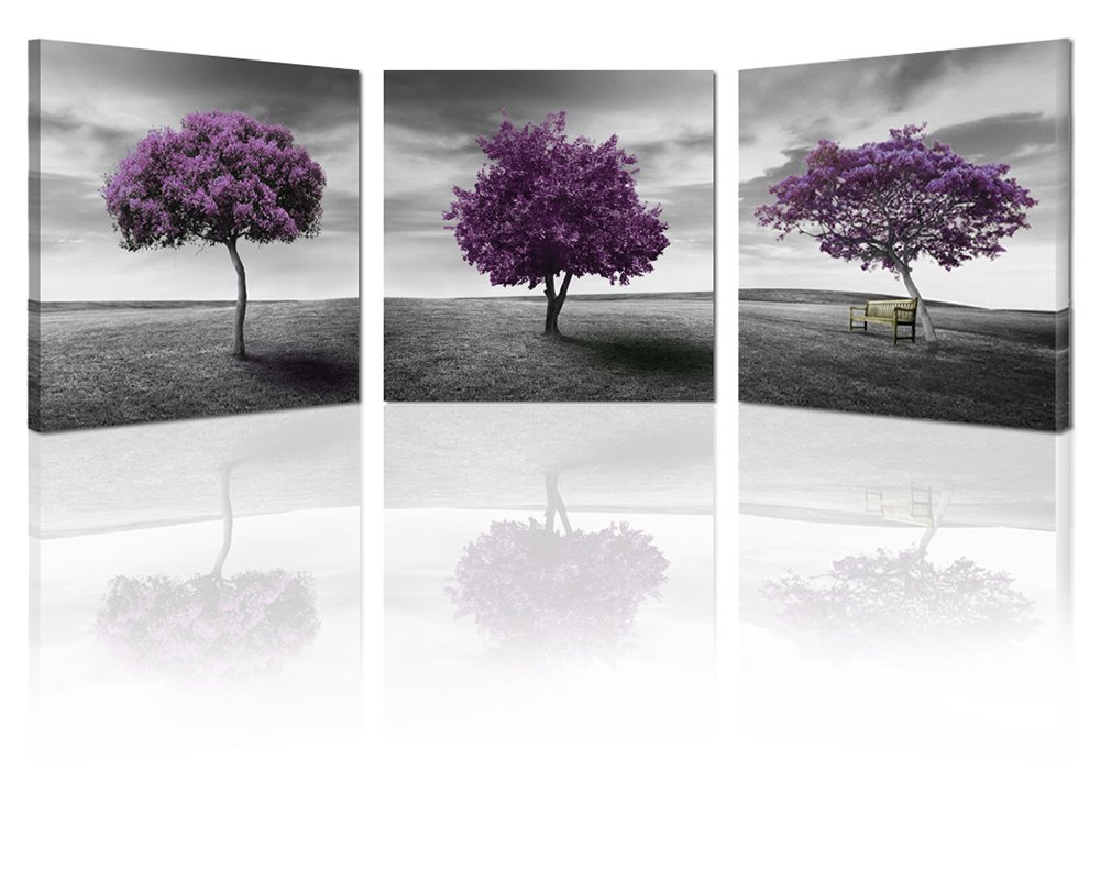 Ardemy Canvas Wall Art Tree of Life Deep Purple and Gray Lawn 16''x16'' 3 Panels, Landscape Pictures Prints on Canvas Framed Painting Gallery Wrapped for Bedroom Bathroom Spa Corridor Hallway Home Decor