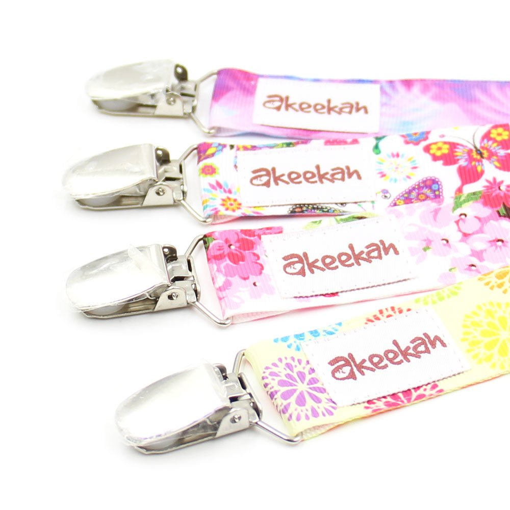 FLASH SALE | Dummy Clip 4 Pack for Girls by Akeekah Unique 2 Sided Design Pacifier Holder Binky Soother Leash