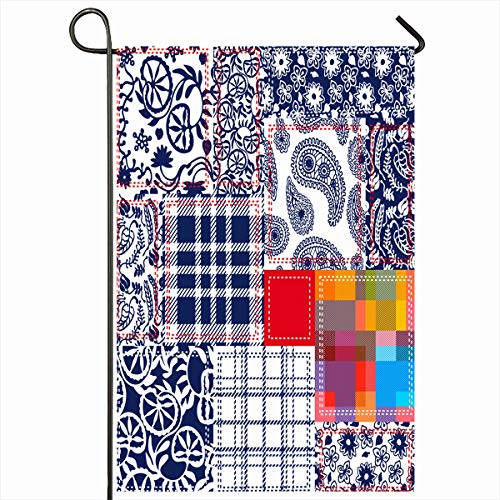 Ahawoso Garden Flag 12x18 Inches Mosaic Denim Blue White Red Patchwork Collage Batik Purple Flowers Abstract Bohemian Boho Design Outdoor Seasonal Home House Yard Sign Double Sides Printed - Batik Collages