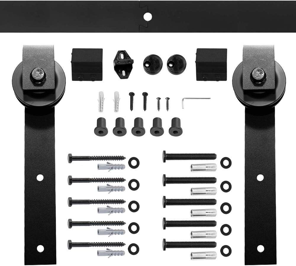 Schiebet/ürbeschlag Set 6FT//183cm//LWZH,H/ängeschiene Schiebet/ürsystem T/ür Hardware Kit f/ür Innent/üren Schwarze J-Form