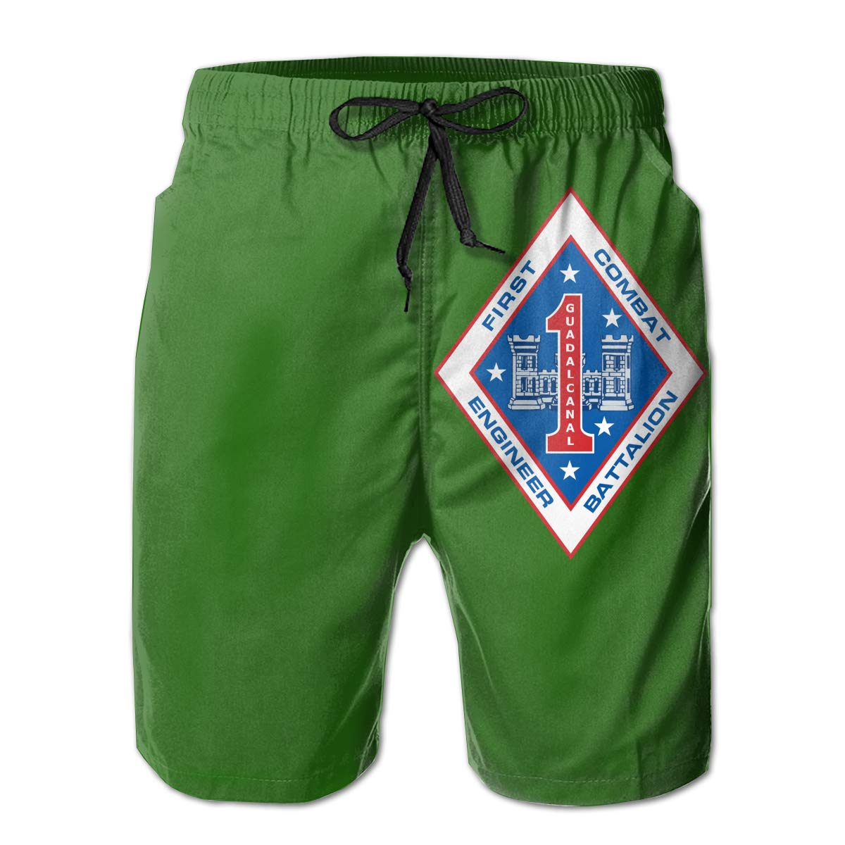 Hdecrr FFRE 1st Combat Engineer Battalion Men Summer Casual Beach Shorts Quick Dry Swim Trunks with Pockets