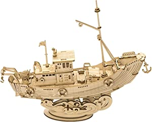 RoWood 3D Wooden Puzzle for Adults, Family Puzzles & Watercraft Ship Room Decor, Gifts for Women and Men - Fishing Ship