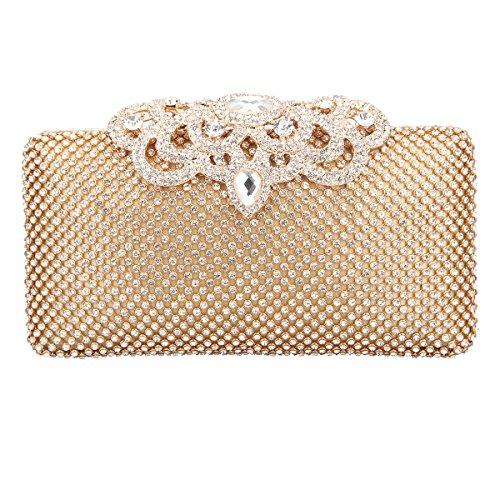 Fawziya Crown Clutch Purse Bling Hard Box Rhinestone Crystal Clutch Bag-Gold Image