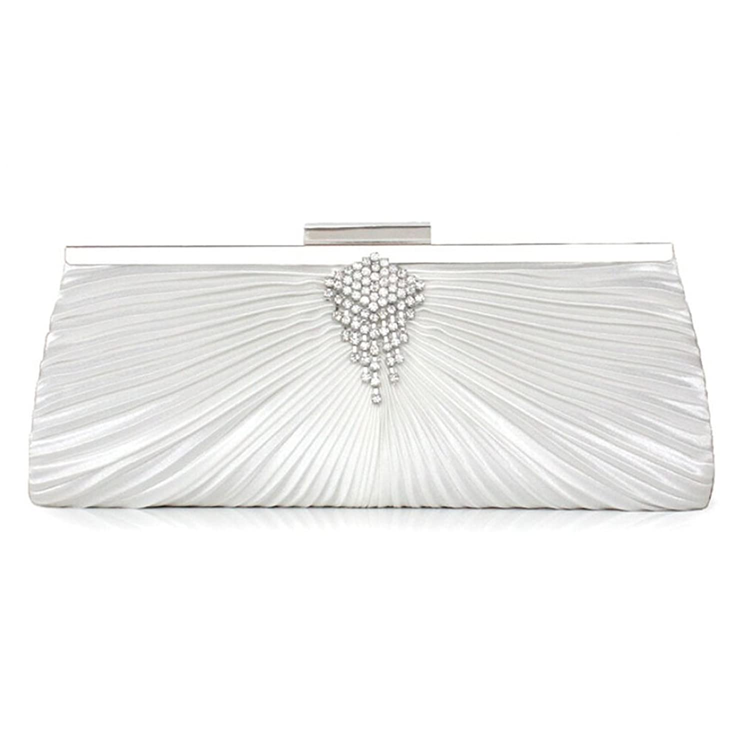 Abless Women Elegant Swirling Clinched White Satin Fabric Fashion Party Clutch Purses