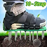 MAXTID Upgraded Lawn Aerator Shoes - with 10 Adjustable Cinch Straps, Heavy Duty Lawn Spiked Soil Sandals for Aerating Your Garden or Yard (1 Pair) Universal Size