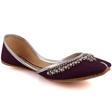 718f67350997e1 Unze Women Ladies Traditional Ashoka Kundan Work Indian Casual Handmade  Leather Flat Khussa Pump Slippers Shoes UK Size 3-8  Amazon.co.uk  Shoes    Bags