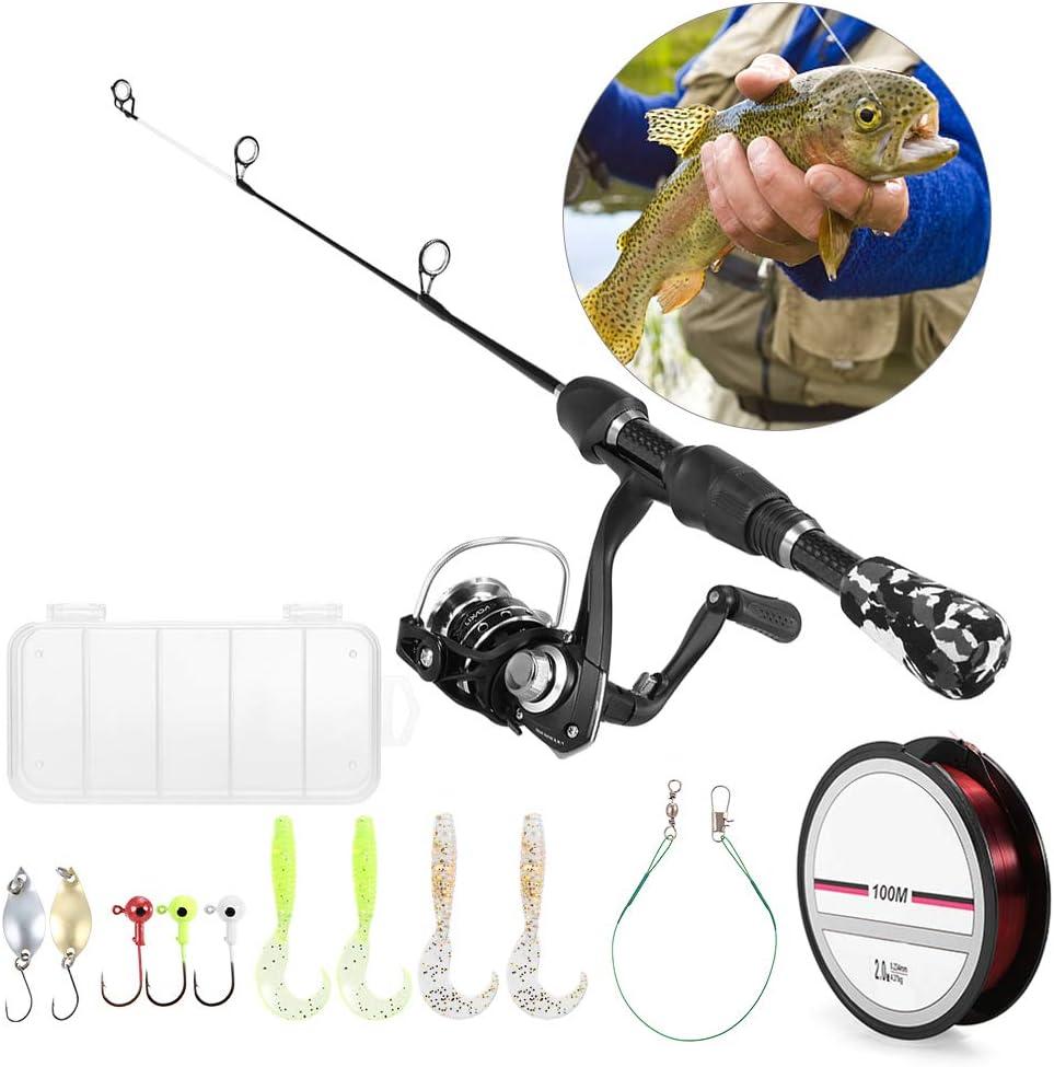 Lixada Ice Fishing Rod Set Complete Ice Fishing Tackle Kit with Ice Fishing Rod Spinning Reel Ice Fishing Hooks Nylon Fishing Lines Soft Worms Lures Reflective Metal Lures Storage Bag