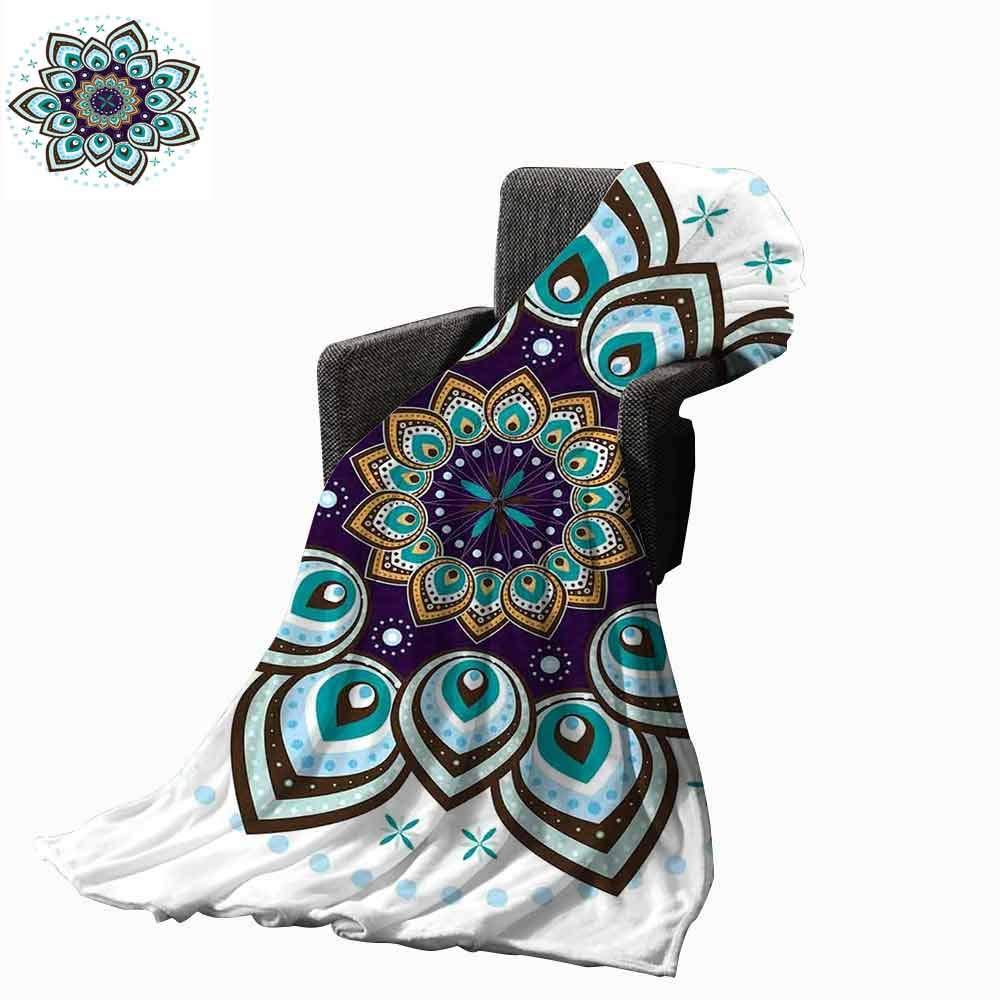 vanfan-home Mandala Beach Blanket,Boho Lotus Flower Stylized Microcosm Motif Unique Retro Spiritual Theme Cozy and Durable Fabric-Machine Washable (62''x60'')-Purple Teal Brown