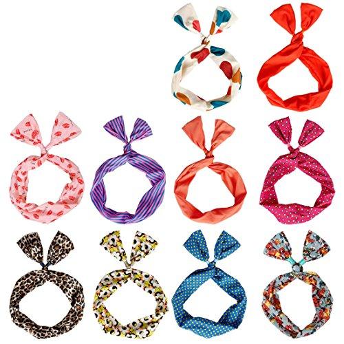 BMC 10 Womens Wire Bunny Ear Head Band Hair Wrap Bow Scarf Anti-Slip Twisted Tie