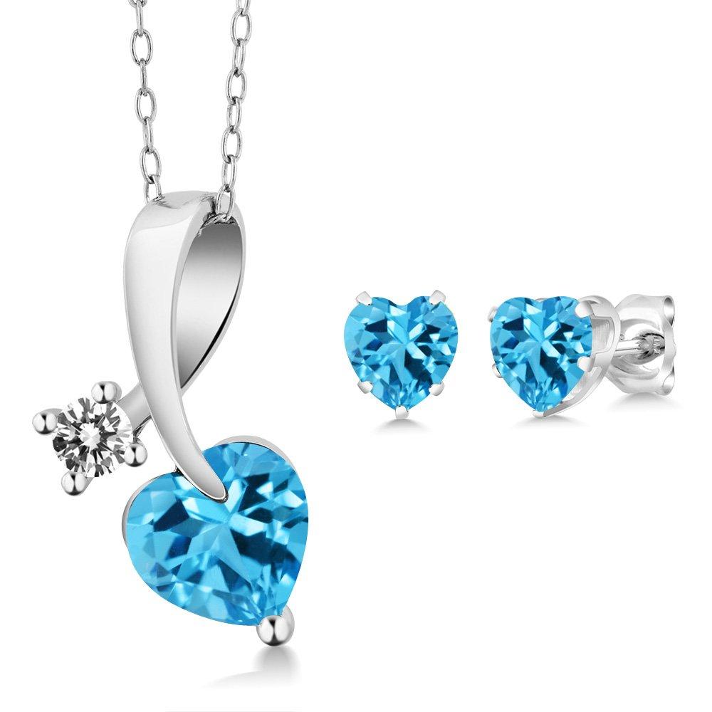 2.72 Ct Heart Shape Swiss Blue Topaz and Diamond 14K White Gold Pendant Earrings Set