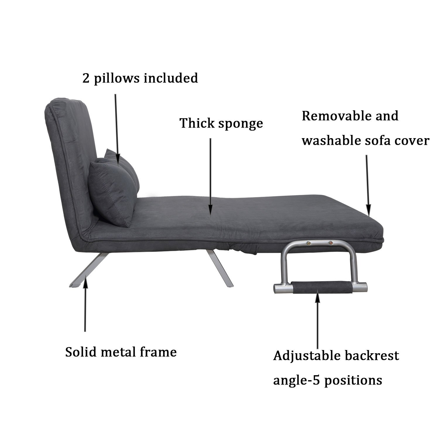 Tidyard Twin Size Folding Sleeper Bed Chair 5 Adjustable Position Convertible Reclining Couch with Pillow Powder Coated Steel Sofa Chair for Living Room Office Home Cream Grey