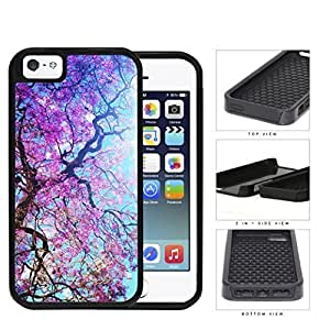 Spring Season Violet Flowers Blooming On Tree 2-Piece Dual Layer High Impact Rubber Silicone Cell Phone Case Apple iPhone 5 5sKimberly Kurzendoerfer
