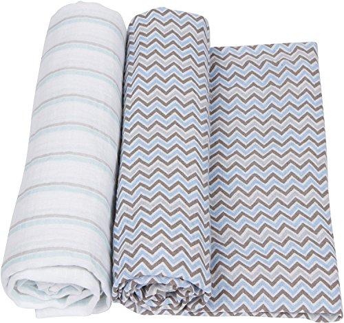 miracle ware ミラクルウエア Muslin Swaddle Blanket 2pk モスリンブランケット2枚セットBlue & Grey ブルー&グレー  ブルー&グレー B00PX7A8G6