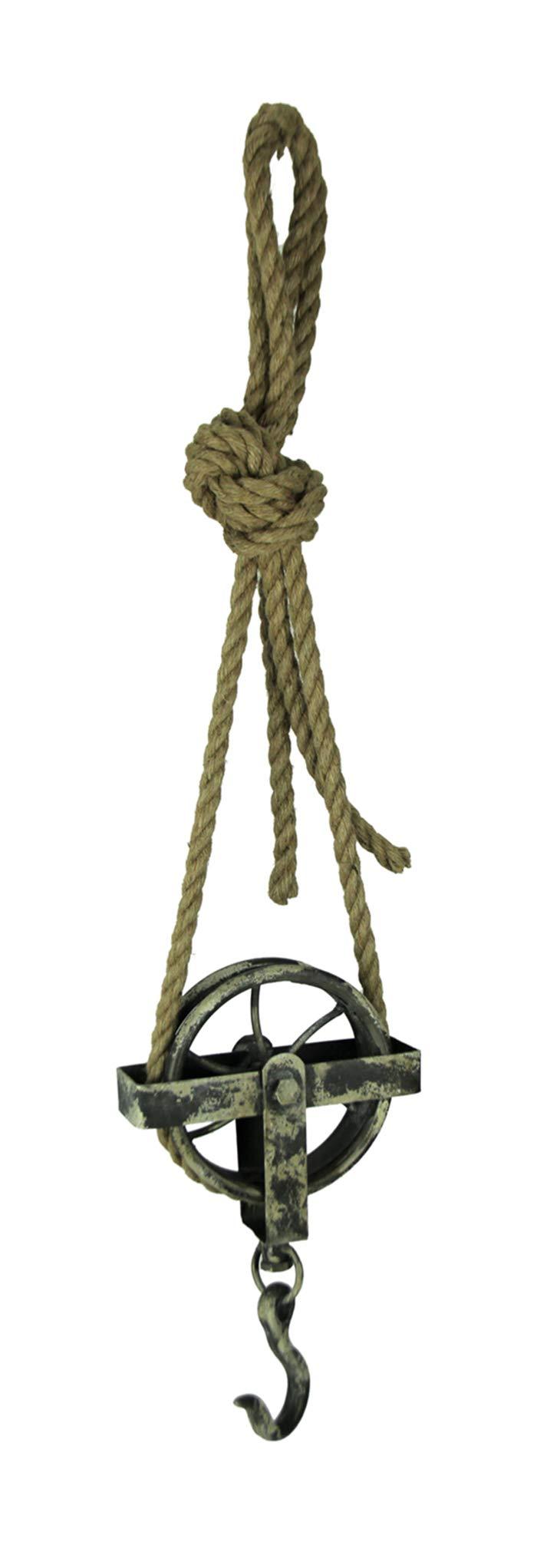 Things2Die4 Rustic Metal and Rope Decorative Hanging Pulley Hook