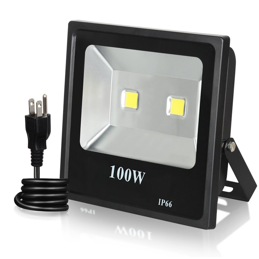 100W LED FLood Light, T-SUN Super Bright Outdoor Security Flood Light Waterproof IP66 Lighting Lamp for Garden, Yard, Warehouse, Garage (6000K White)