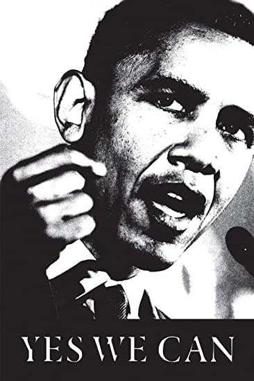 Amazon Com Obama Yes We Can Black And White Poster 24 X 36in Prints Posters Prints