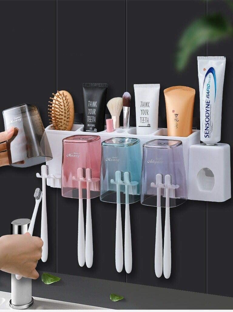 2 Cups Brush Holder only Toothbrush Holder Wall Mounted Environmental PC Material All Dust Free Clean