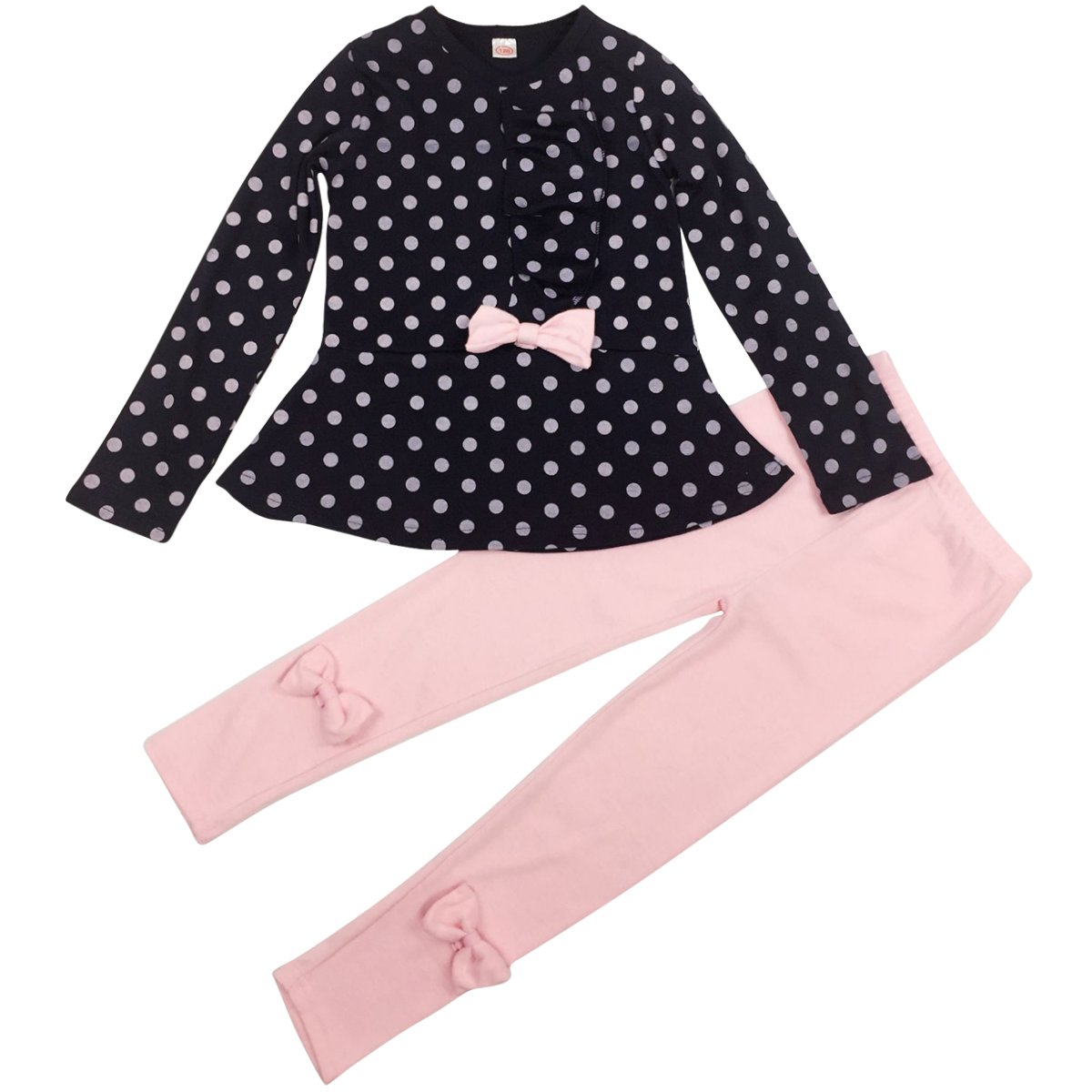 Jastore Baby Girl Cute 2pcs Set Children Clothes Suit Top and Pants Fall Clothes (4T, Navy Dot)