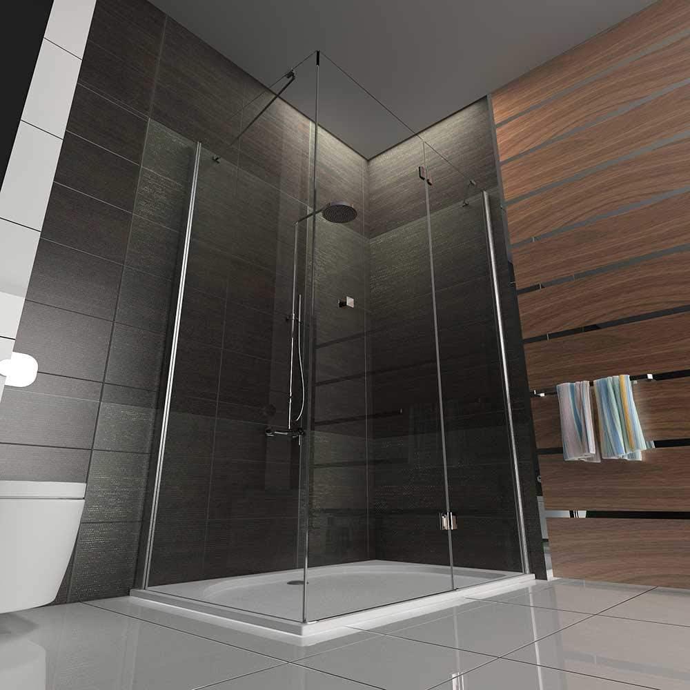 Cabina de ducha 80 x 120 cm con al nano-recubrimiento Apertura ...