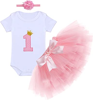 3PCS Baby Girl 1st Crown Romper Bodysuit Headband Birthday Tutu Skirt Outfit Set
