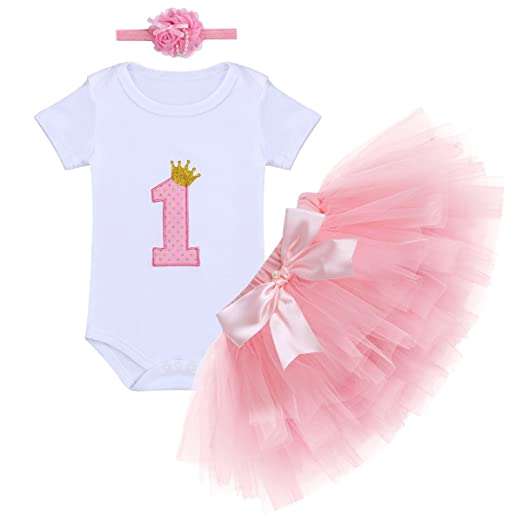 0077dea96 Amazon.com  OBEEII Newborn Baby Girl 1st Birthday Outfits Romper ...