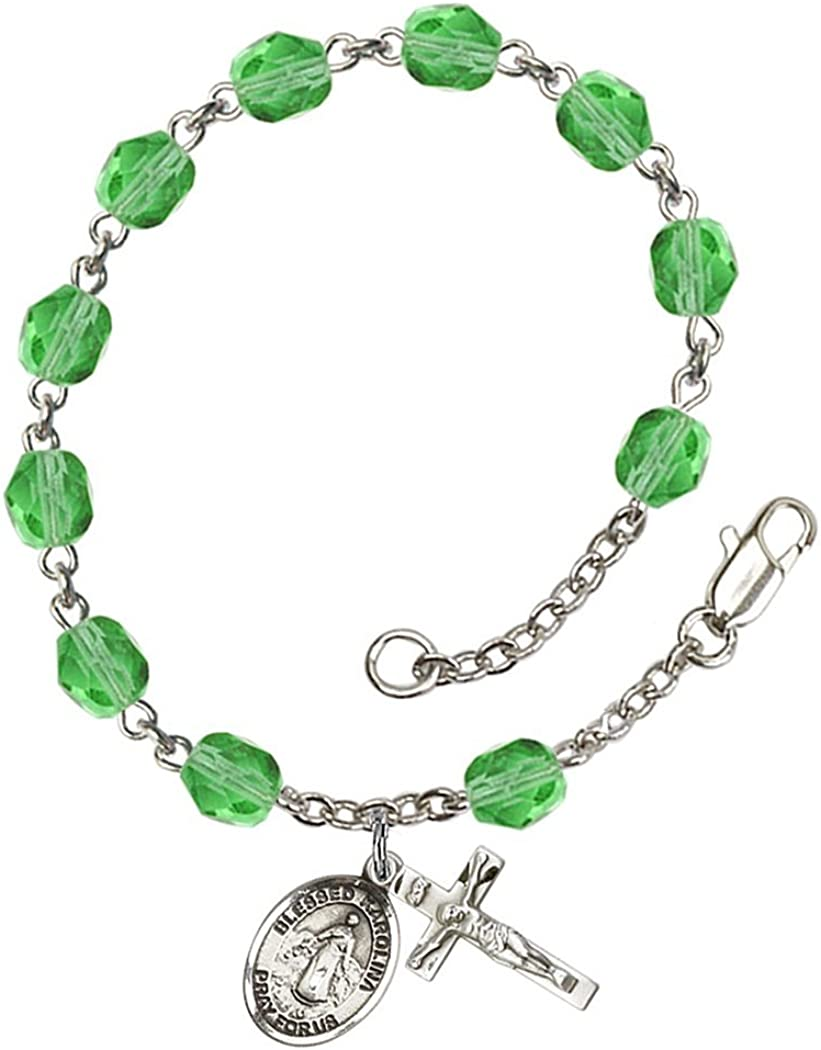 18-Inch Rhodium Plated Necklace with 6mm Crystal Birthstone Beads and Sterling Silver Saint Frances Cabrini Charm.