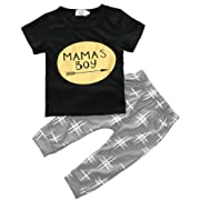 ZHUANNIAN Baby Boys Clothes 2PCS Outfit Set T-Shirt Tops with Patterned Pants(Black and Grey,12-18 Months)