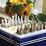 RADICALn 16 Inches Large Handmade White and Green Onyx Weighted Marble Full Chess Game Set Staunton and Ambassador Gift Style Marble Tournament Chess Sets -Non Wooden -Non Magnetic -Not backgammon