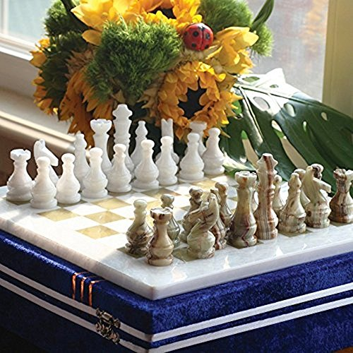 RADICALn 16 Inches Large Handmade White and Green Onyx Weighted Marble Full Chess Game Set Staunton and Ambassador Gift Style Marble Tournament Chess Sets -Non Wooden -Non Magnetic -Not backgammon (For Board Tables Chess Sale)