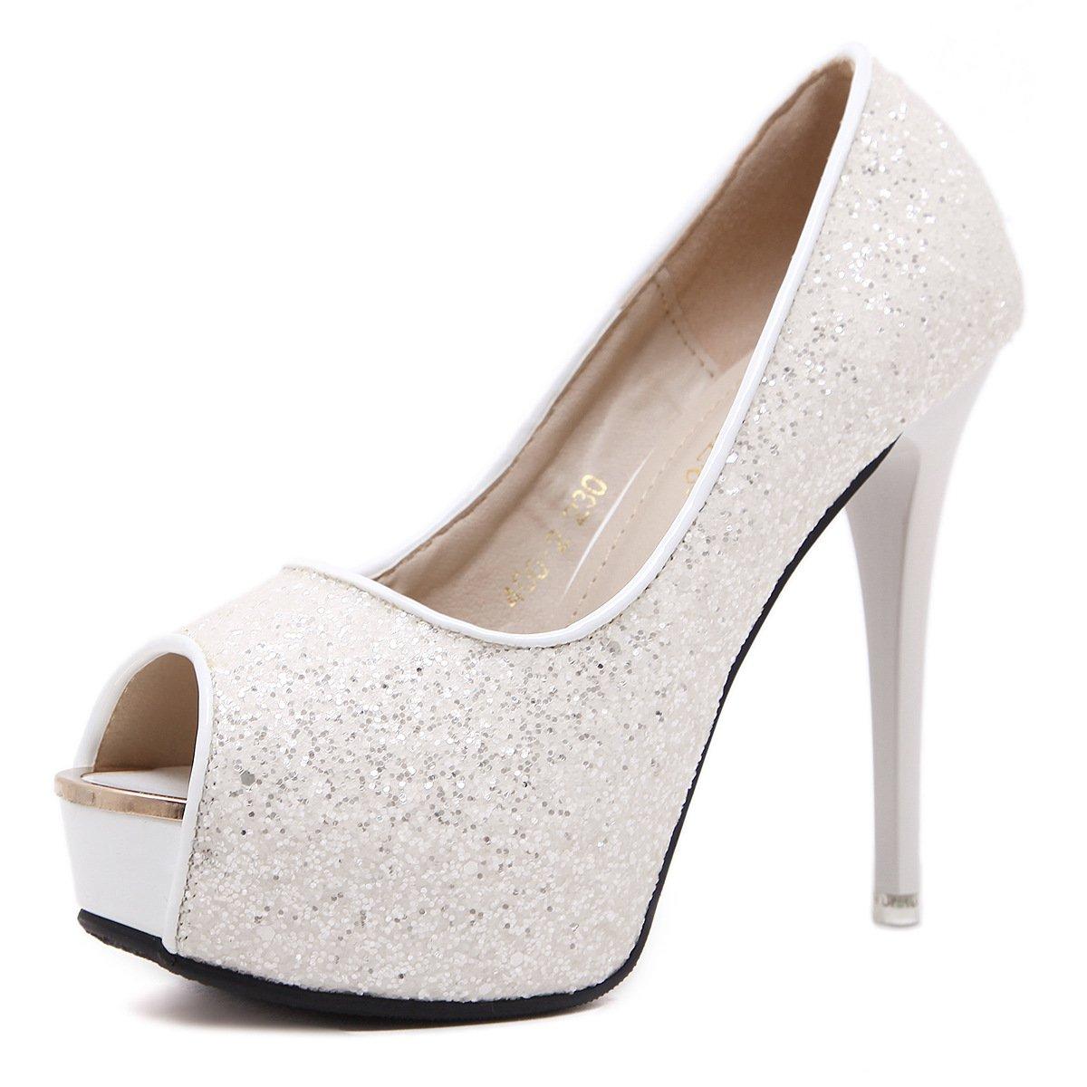 ZHZNVX Frühling Frühling Frühling und Sommer neue Sandale Super High Heel 12 cm Pailletten Schuhe wilde reine Farbe fein mit Fisch Mund Schuhe High Heels weiblich 2a8d1a