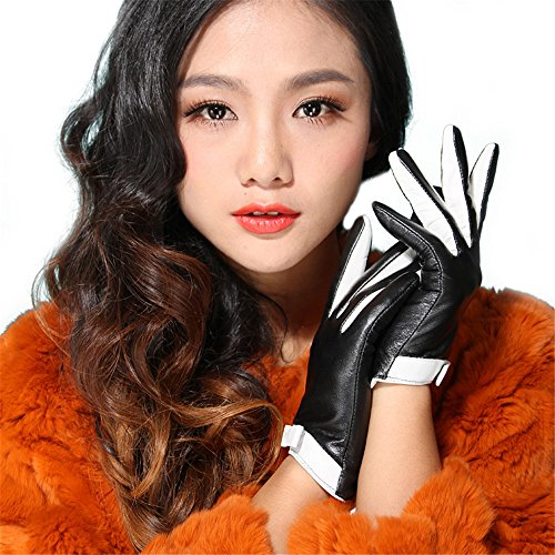 (Borgasets Women's Lambskin Genuine Leather Gloves Two Tone with Bow Decoration Small Black)