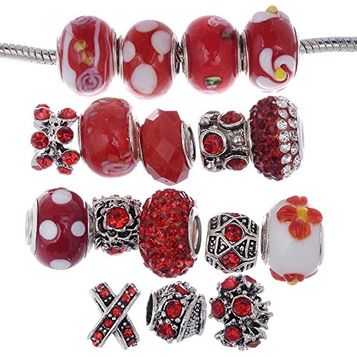 Red Bead Bracelet Glass (RUBYCA Murano Lampwork Charm Glass Beads Tibetan Crystal European Bracelet Mix Assortment Red 15Pcs)