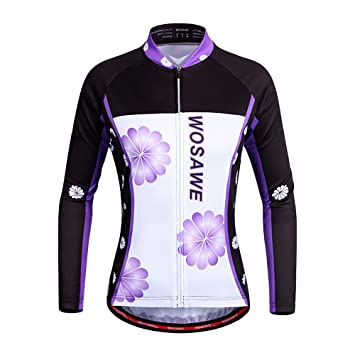 634fdcbc3 AGSY Women s Violet Cycling Jersey Spring Cycling Bike Long Breathable Tops  XL