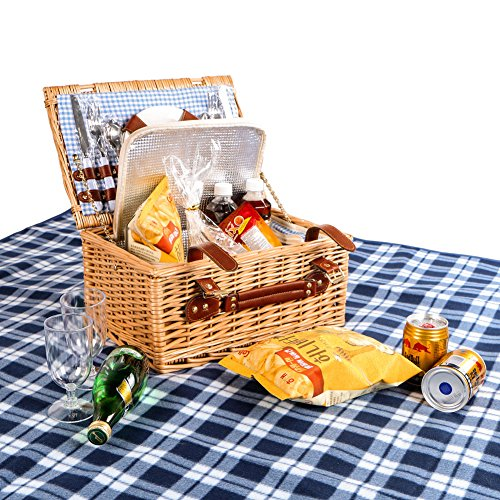 Woworld Insulated Picnic Basket 2 Person Deluxe Wicker Picnic Basket Hamper with Cutlery,Plates,Wine Glasses,Waterproof Picnic Blanket Set White and Blue Liner (2 person,White/Blue Plaid) (White Wicker Baskets And Blue)