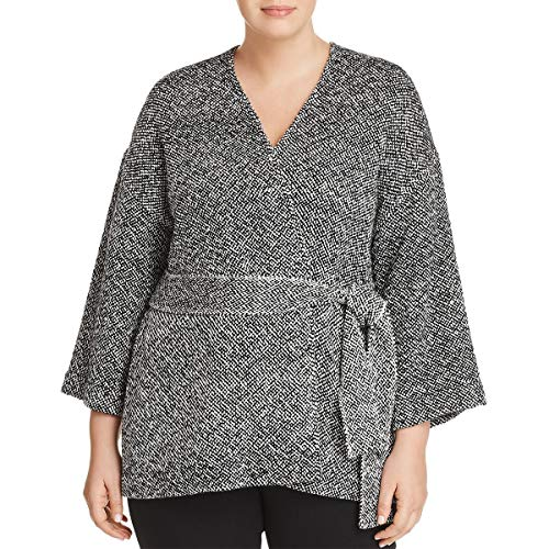 Eileen Fisher Womens Plus Organic Cotton Belted Wrap Coat Black 2X