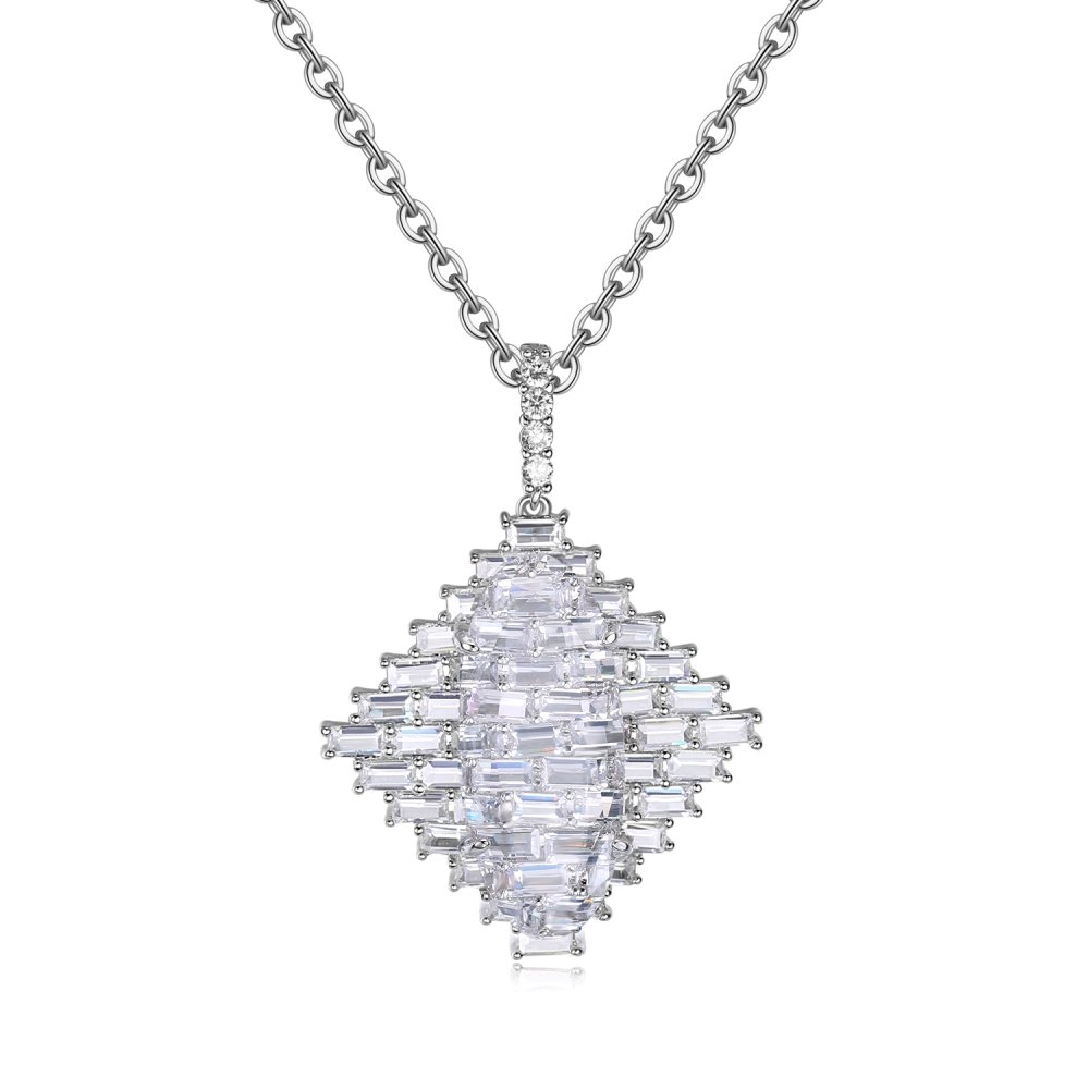 Natalie Mills Ladies Pendant, Necklace. White Crystal & Baguette CZ Ladies Pendant Ladies Jewelry. (Belle) Latest Trend