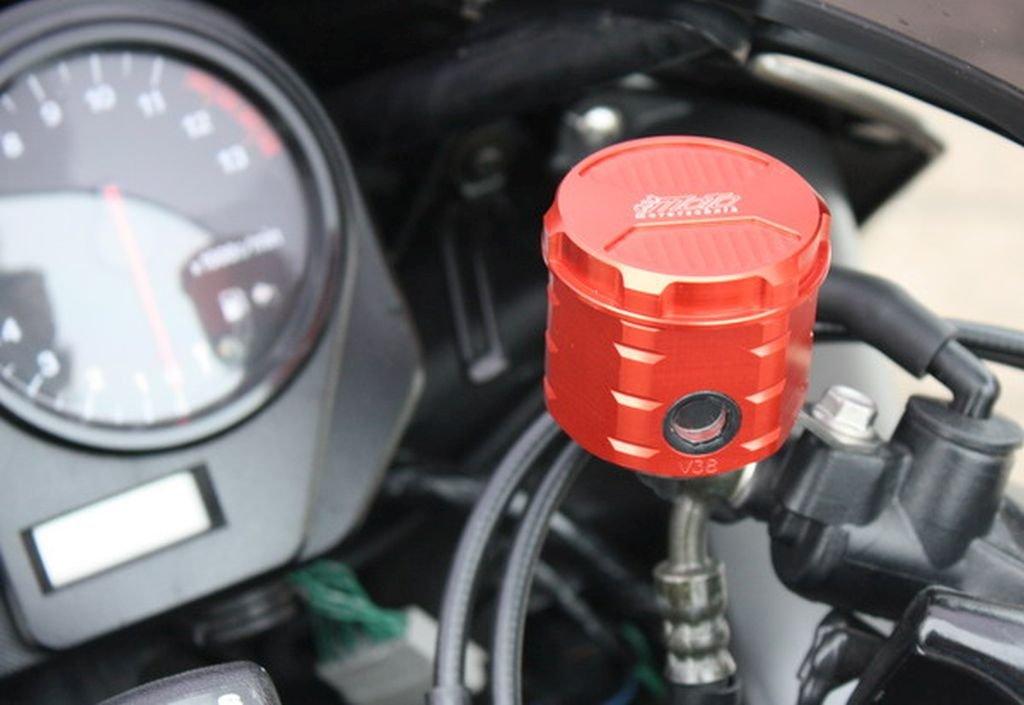 GSG Mototechnik ( ) 製  HONDA CBR 900 RR ( SC44 ) 2000y'-2001y'モデル用  フロント ブレーキ マスター リザーバー オイル タンク アルミ削り出し RED (赤色) アルマイト 仕上げ + ステンレス製 タンクステー ( ラバーマウント付 ) セット   B00B470DU0