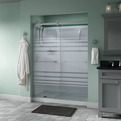 Peachy Delta Shower Doors Sd3172720 Linden 60 X 71 Semi Frameless Contemporary Sliding Shower Door In Nickel With Transition Glass Beutiful Home Inspiration Semekurdistantinfo
