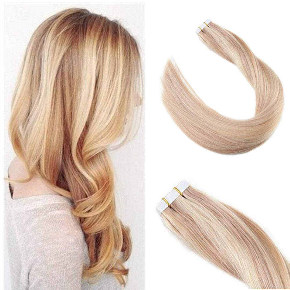 Amazon Ugeat 14inch Tape In Extensions Human Hair Highlight