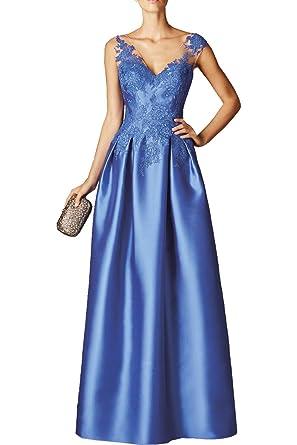 Milano Bride Blau Elegant Langes Spitze Satin Abendkleider Partykleider  Abschlussballkleider 2017 Neu: Amazon.de: Bekleidung