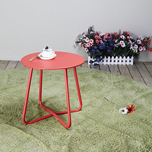 Grand Patio Steel Patio Side Table, Weather Resistant Outdoor Round End Table, Red