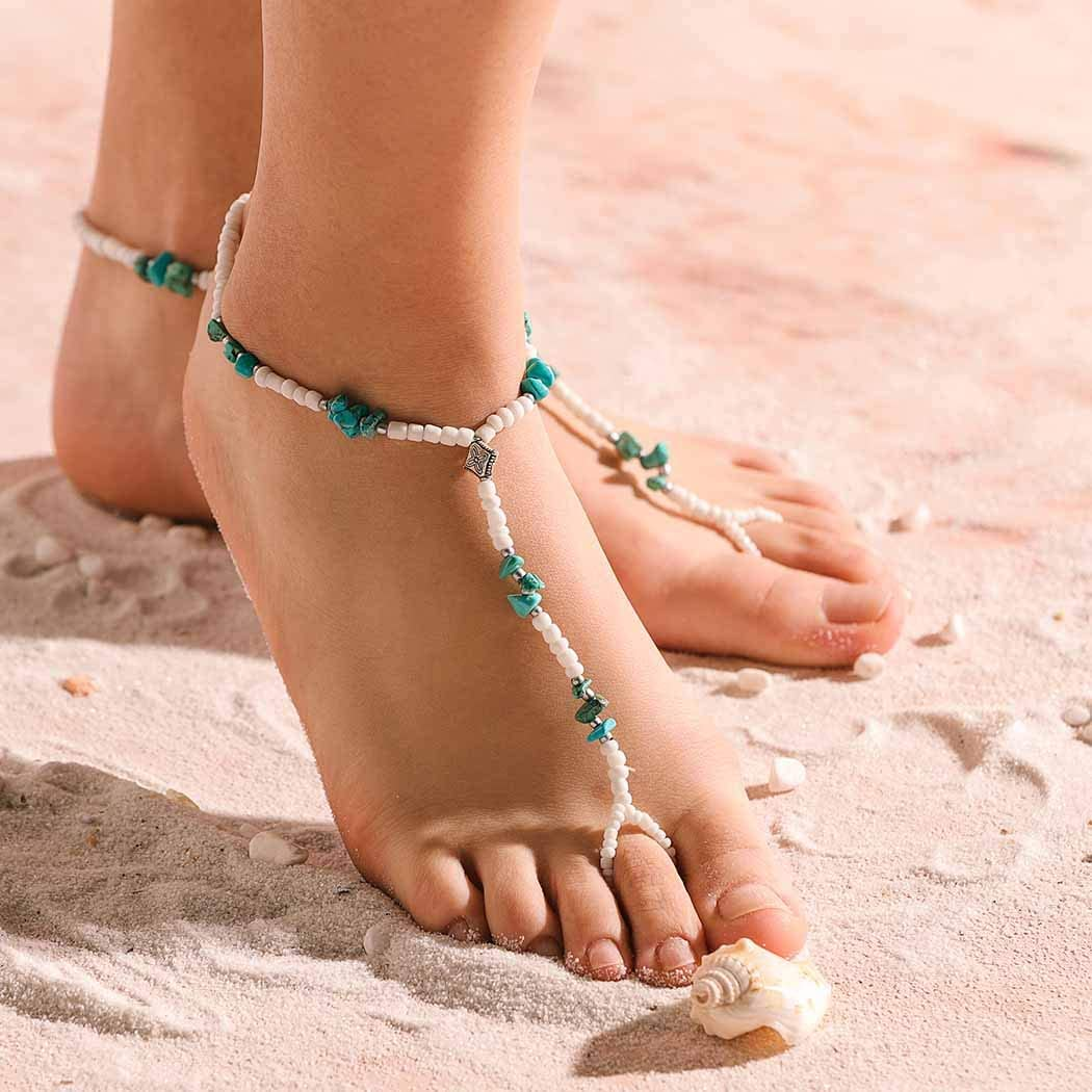 YOIOY Round Beads Anklets Ankle Bracelet Barefoot Sandal Beach Foot Jewelry for Women and Girls