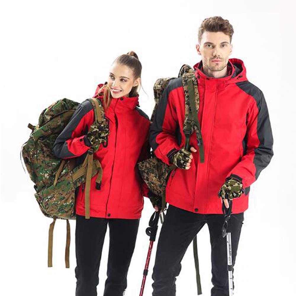 Herren Bergwinddichte warme Jacke, wasserdicht verdickt Fleece Ski Coldproof Sportbekleidung abnehmbare DREI-in-one Windjacke, Außenreitsportkleidung,Rot,XXL