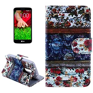 Flower Pattern Case PU Funda Flip Cover para LG G2, Holder mini