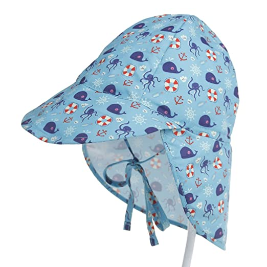 08327049e63 Image Unavailable. Image not available for. Color  Baby Kids UPF 50+ UV  Protection Floral Sun Hat Adjustable Swim Hats Neck Flap