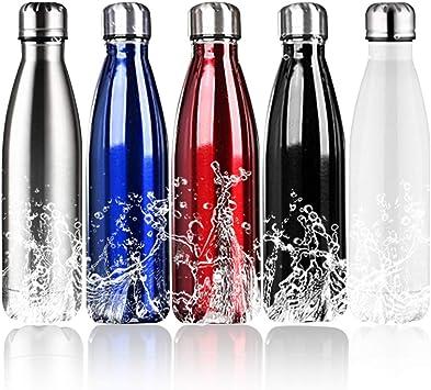 Botella de agua PX Home, aislada, respetuosa con el medio ambiente, aislada al vacío, doble pared 18/8, botella de agua de acero inoxidable, 4 tamaños en 5 colores, color negro, tamaño 1.000