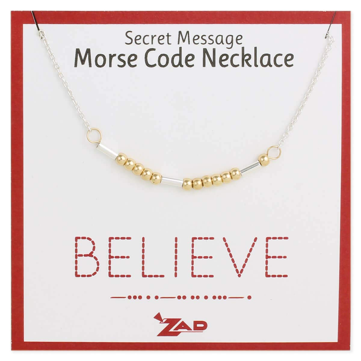 "Zen Styles Morse Code Inspirational Necklace Jewelry 'Strength', Courage', Mother', Love', 'Sister', Believe', Survivor', Two-Tone Adjustable 16""-18"" Inches, Custom Gift Box"