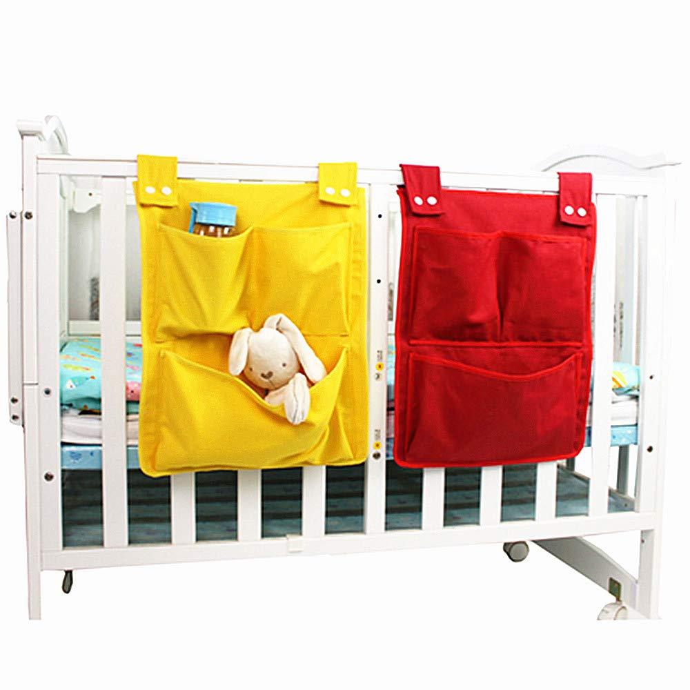 QGUOYU 2X Canvas Crib organizerMulti-Grid of Crib Storage Tidy Bag ,Clothing Diapers Toys Hanging Storage bagHome Wall Debris Multi-Pocket Hanging Bag